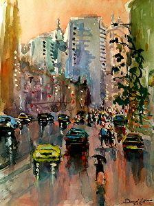 Street in the Rain by artist Daniel Altman. #watercolorart found on the FASO Daily Art Show - http://dailyartshow.faso.com
