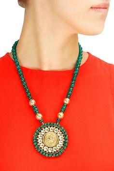 Gold plated goddess lakshmi and green onyx necklace by Art Karat. Shop now at www.perniaspopups... #jewellery #designer #fashion #couture #shopnow #perniaspopupshop #happyshopping