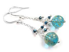 Murano Glass Bead Dangle Earrings - Teal Gold