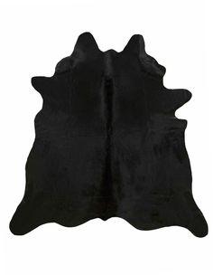 Solid black cowhide rug large