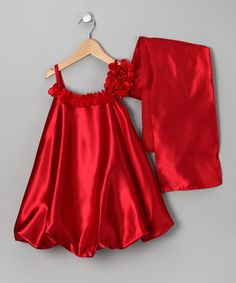 Take a look at this Red Satin Bubble Dress & Shawl - Toddler & Girls on zulily today!