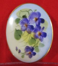 ANTIQUE HAND PAINTED PURPLE VIOLETS-PORCELAIN PIN/BROOCH