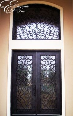 Custom wrought iron door with eyebrow arch transom. Entry Doors, Entryway, Iron Front Door, Arched Eyebrows, Wrought Iron Doors, Spanish Style, Double Doors, Home Projects, Stairs