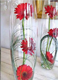 Red gerbera centerpieces