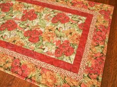 Small Quilted Table Runner with Birds and Flowers in Coral Red