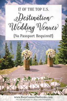 Top Destination Wedding Venues in the U. From ranches to resorts and inns to … Top Destination Wedding Venues in the U. From ranches to resorts and inns to private estates, have a dream destination wedding with no passports required! Us Destination Wedding, Winter Wedding Destinations, Destination Wedding Inspiration, Wedding Tips, Wedding Events, Wedding Planner, Wedding Ceremony, Budget Wedding, Wedding Themes