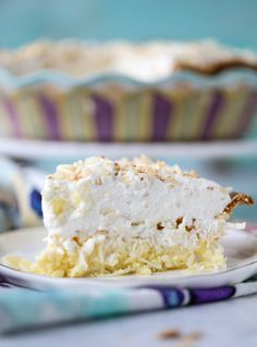 coconut custard pie with coconut whipped cream I howsweeteats.com