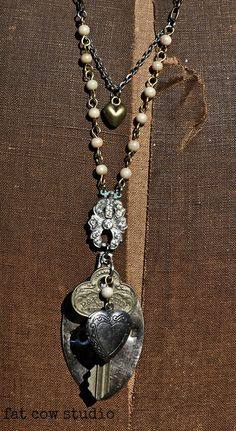 COURAGE silver spoon upcycled Necklace by fatcowstudios on Etsy, $68.00