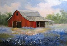 painting of red sunday barn - Google Search