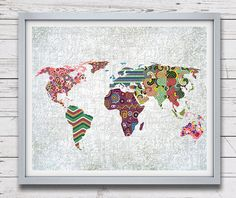 World Map Art, Map Art Decor, Map Print Poster, Geometric Art Print, Colorful Artwork, Giclee Art Print, Office Decor $26