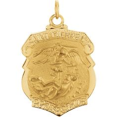 Michael Medal in Yellow Gold. This item will be gift wrapped in a contemporary gift box, making it a wonderful gift. In addition, a 'gift message' can be added. mmPendant mmPendant W Buy Gold And Silver, Sell Gold, Kids Gold Jewellery, Gold Jewelry, St Michael Medal, St Michael Pendant, Gold Price, Religious Jewelry, Yellow