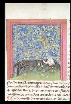 Snail and mouse in conflict, Spiegel der Weisheit, c, 1430. Detail of a miniature of a mouse taunting a snail for his slowness, while the snail criticizes the mouse for her lack of defensive armour.