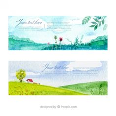 Watercolor landscape banners pack Free Vector