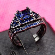 Victoria Wieck Antique Jewelry Blue sapphrie Simulated Diamond 10KT Black Gold Filled 2 Wedding band Ring Set Sz 5-11 Gift