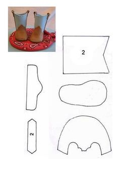 boot tutorial fondant - For all your cake decorating supplies, please visit…Pattern for two-color boots from Patron botas {Site NOT in English}. I think this pattern fits a flat-footed doll, not one with a high-heel foot.Free Printable Doll shoes a Cowboy Baby, Camo Baby, American Girl Clothes, Girl Doll Clothes, Girl Dolls, Babies Clothes, Babies Stuff, Girl Clothing, Doll Crafts