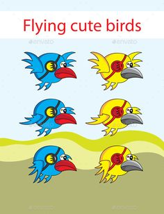 Flying cute birds — Photoshop PSD #2d #art • Available here → https://graphicriver.net/item/flying-cute-birds/10767001?ref=pxcr