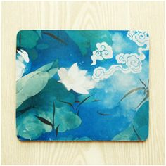 Lotus in Blue Chinese Painting Mouse Pad Cloth Surface by ATHiNGZ, $12.99