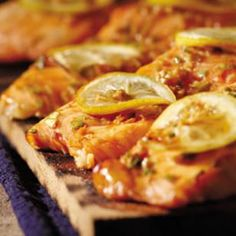 Plank-Grilled Sweet Soy Salmon Recipe. Heart Healthy and only 233 Calories per Serving.