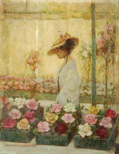Benjamin Haughton - Woman in a Conservatory with Roses.