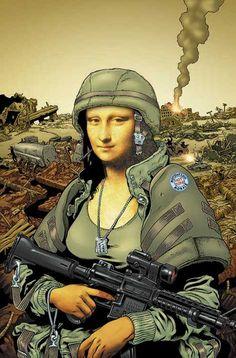 Mona Lisa in combat Le Sourire De Mona Lisa, Mona Lisa Secrets, Arte Alien, La Madone, Mona Lisa Parody, Mona Lisa Smile, Army Love, Italian Artist, Funny Art