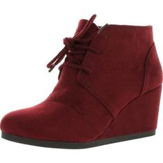 City Classified Rex Women's Lace Up Faux Leather Ankle Wedge Boots