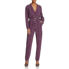 Maje Printed Notch Lapel Jumpsuit - 100% Exclusive (€505) ❤ liked on Polyvore featuring jumpsuits, print, jump suit, patterned jumpsuit, maje, maje jumpsuit and print jumpsuit