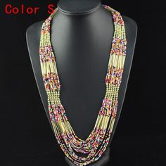 free shipping, multilayer necklace seed beads necklace strands ,new arrival nl-655
