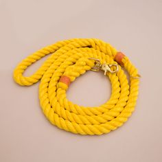 Pineapple yellow with orange knots combination. Handmade rope leash by Lasso.