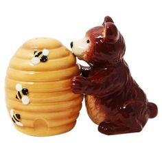 Bear and Beehive Salt and Pepper Shakers