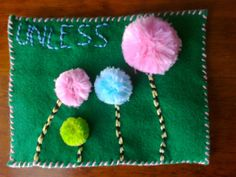Quiet/Sensory book. Looks Dr Seuss inspired. Love the tactile pompoms. Link is no longer available