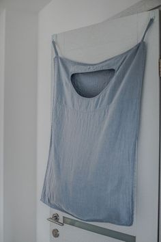 Bluish grey hanging linen laundry bag by notPERFECTLINEN on Etsy
