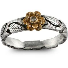 Emma Chapman Jewels - Double Daisy Diamond Flower Ring ($470) ❤ liked on Polyvore featuring jewelry, rings, engraved stacking rings, stackable rings, floral ring, leaf ring and daisy ring