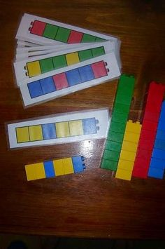 Children use a pattern template on paper and create the same pattern using Lego or unifix cubes. Children use a pattern template on paper and create the same pattern using Lego or unifix cubes. Montessori Activities, Preschool Learning, Kindergarten Math, Educational Activities, Early Learning, Fun Learning, Learning Activities, Preschool Activities, Math Math