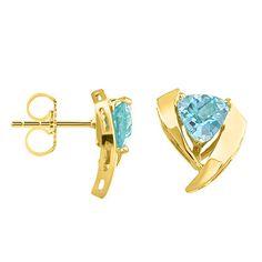 Becker's Jewelry Corp - 14K Yellow Gold Swiss Blue Topaz Push Back Earrings