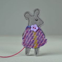 handmade mouse brooch with harris tweed dress by fibrespace | notonthehighstreet.com
