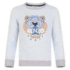 06f924936 Kenzo Kids Boys Pale Blue and Grey Sweatshirt with Orange and Blue Tiger  Print Blue Tigers