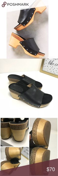 Anthropologie Látigo Lola Leather Wood Clogs Shoe Anthropologie Látigo Lola Leather Wood Clogs Shoes Size 7.5 - 8 says 7.5 great condition bottom heel show Normal wear preowned. First photo for reference only Anthropologie Shoes Mules & Clogs