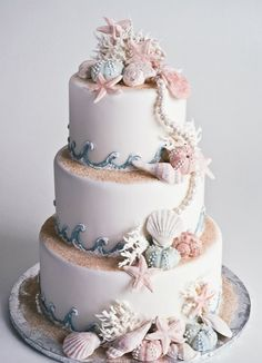 Seashell beach themed cake