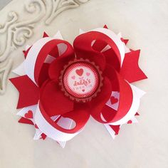 Valentines day hair bow. red and white hair by JoyfulJossyBowtique