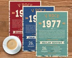 Originální retro pozvánka na vaše narozeniny, pokud jste narození v roce 1977. Pozvánku obdržíte emailem a můžete si vytisknout kolik kusů potřebujete. Retro, Tableware, Gifts, Love, Dinnerware, Presents, Tablewares, Favors, Retro Illustration
