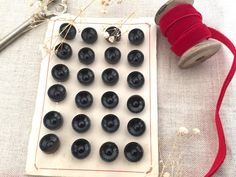 Beautiful Set of 24 Black Round-Shaped Buttons  by damesaucouture