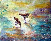 "An original acrylic painting of birds at water's edge.  ""What'd you find"" seems to be the question."