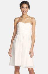 Donna Morgan 'Sarah' Strapless Ruched Chiffon Dress (Regular & Plus Size)