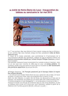 Programme du jubilé de Notre-Dame du Laus avec l'inauguration du tableau de Philippe Casanova.
