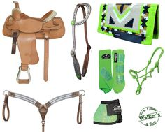 Create your own unique tack set like this lime one at Walker's Farm Home & Tack