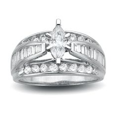 1-1/2 CT. T.W. Marquise Diamond Engagement Ring in 14K White Gold