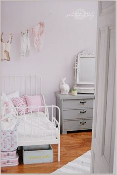 White pink and grey scheme. Soft and feminine.