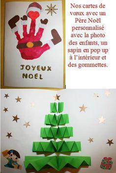 Carte de voeux Père Noël empreinte de main et sapin 3D