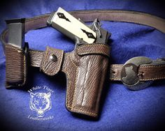 Full Holster Belt and Mag Pouch Set for a 5 inch no rail 1911 in Sand Shark