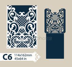 Descargar - Envolvente de felicitación de plantilla con el patrón calado tallado — Ilustración de stock #134951530